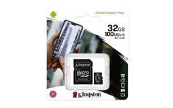 32 GB . microSDHC karta Kingston Canvas Select Plus Class 10 (r/w 100/10 MB/s) + adaptér
