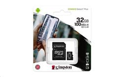 32 GB . microSDHC karta Kingston Canvas Select Plus Class 10 (r/w 100MB/s) + adaptér