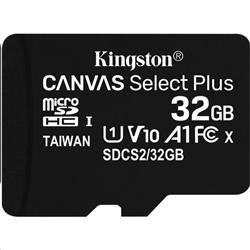 32 GB . microSDHC karta Kingston Canvas Select Plus Class 10 (r/w 100MB/s) bez adaptéra