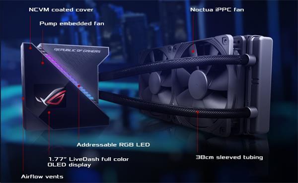 ASUS ROG RYUJIN 240 vodné chladenie CPU, OLED, Aura Sync RGB, Noctua iPPC