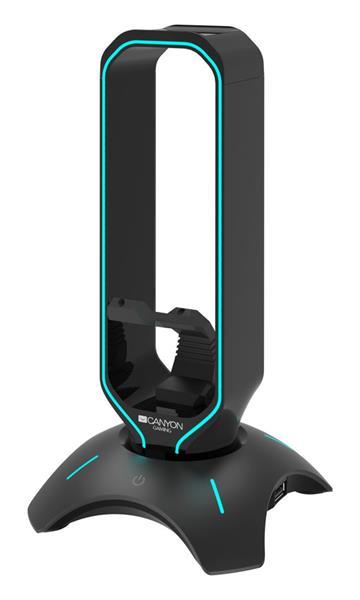 Canyon CND-GWH200B, 3v1, stojan pre herný headset + bungee stabilizátor kábla hernej myši + USB hub, čierny