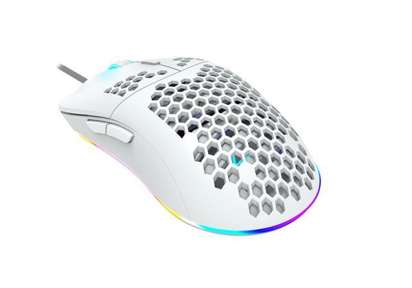 Canyon CND-SGM11W Puncher herná myš, drôtová, optická, 800/1600/2400/4200, 7 progr. tlač, Pixart, RGB podsviet., biela