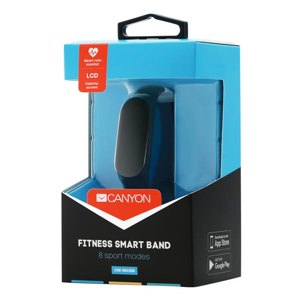 Canyon CNE-SB02BB smart hodinky, Bluetooth, farebný LCD displej 0.96´´, odolné IP65, merač tepu, multišport režim, kroko
