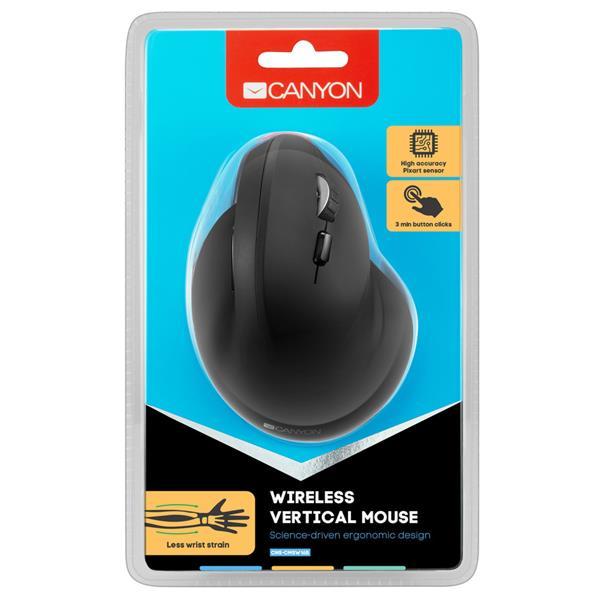 Canyon CNS-CMSW16B, vertikálna Wireless optická myš USB, 800/1200/1600 dpi, 6 tlač, čierna
