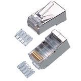 """CNS tienený konektor STP RJ45-8p8c,50µ"""" Au, lanko,skladaný, Cat6, (100ks)"""