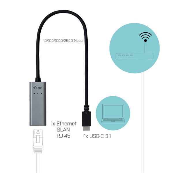 i-tec USB-C Metal 2.5Gbps Ethernet Adapter