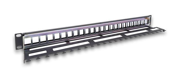 Legrand LINKEO modulárny patchpanel 24port 1U pre UTP i STP keystone, kovová vyväz. lišta