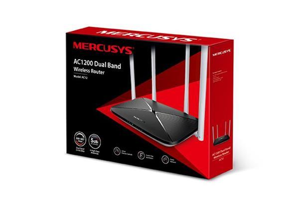MERCUSYS AC12G AC1200, 867Mbps at 5GHz +300Mbps at 2.4GHz, 1 10/100/1000M WAN + 3 10/100/1000M LAN