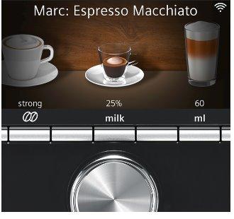 """SIEMENS_19 bar,Home Connect,mód """"barrista"""", farebný TFT displej 2 samost.tiché keramic. mlynčeky s coffeeSensor,2 šálky"""