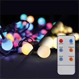 Solight LED 2v1 vonkajšia vianočná reťaz, gule, diaľkový ovládač, 200LED, RGB + biela, 20m+ 5m, 8 funkcií, IP44