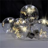 Solight LED sada vianočných gulí s hviezdami, veľ. 8cm, 6ks, 30LED, časovač, tester, 3xAA, USB