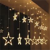 Solight LED vianočné záves, hviezdy, šírka 1,8m, 77LED, IP20, 3xAA, USB