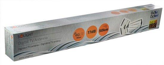 Solight vonkajšia DVB-T anténa, 17dB, UHF, 21. - 60. kanál, LTE/4G filter