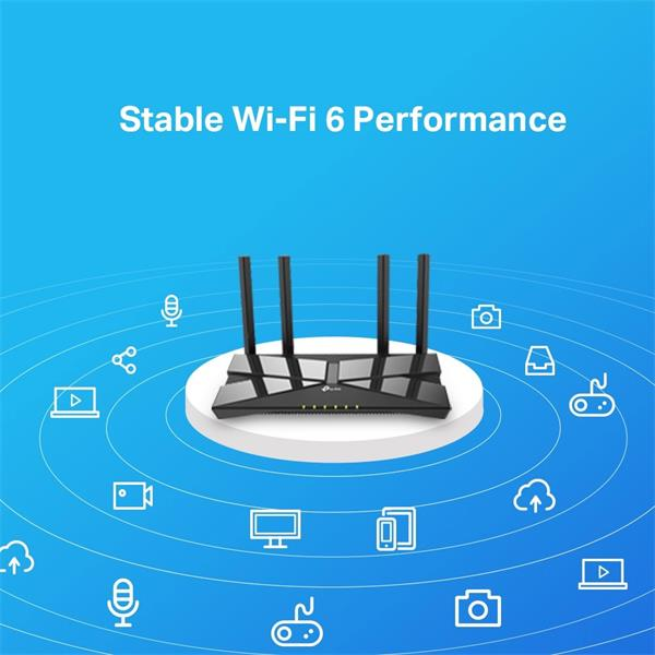 TP-LINK AX1500 Wi-Fi 6 Router, Broadcom 1.5GHz Tri-Core CPU, 1201Mbps at 5GHz+300Mbps at 2.4GHz, 5 Gigabit Ports, 4 Ant.